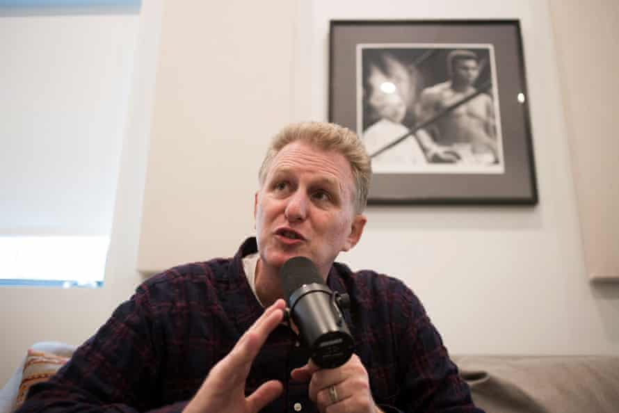 Michael Rapaport records a show for his sports podcast at his home in Los Angeles.