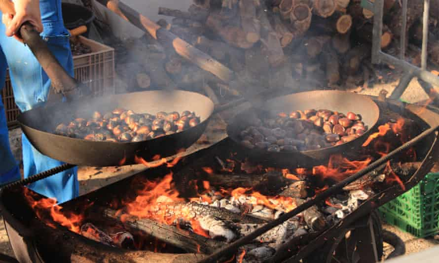 Chestnuts being roasted at the Collobrières festival, in the Var, France.