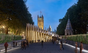 An architect's image of the memorial and learning centre in Victoria Tower Gardens.