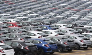cars lined up at Southampton docks for export