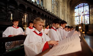 The boys' choir prepares for its performance.