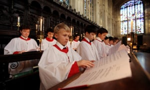 King's College Choir rehearse A Festival of Nine Lessons and Carols.