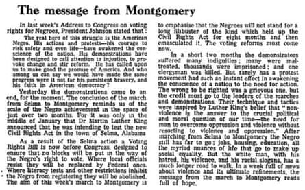 Selma to Montgomery Guardian editorial, 26 March 1965
