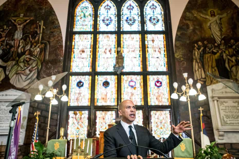 Democratic presidential candidate and U.S. Sen. Cory Booker (D-NJ) speaks to a crowd about gun violence and white nationalism at Emanuel AME Church in Charleston, South Carolina.