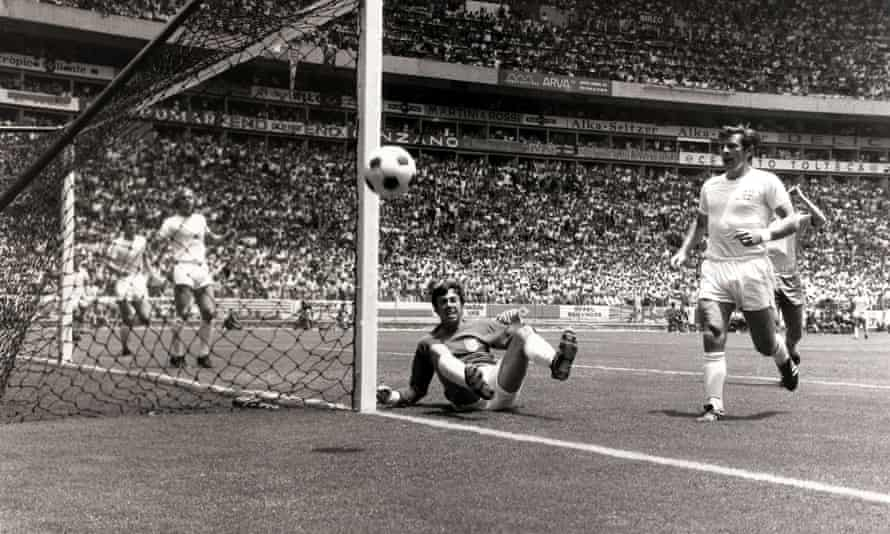 Gordon Banks watches as the ball goes wide after making his famous save from a header by Pelé during the 1970 World Cup, at Guadalajara, Mexico.