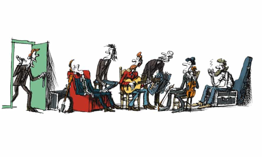 Illustration of band in dressing room