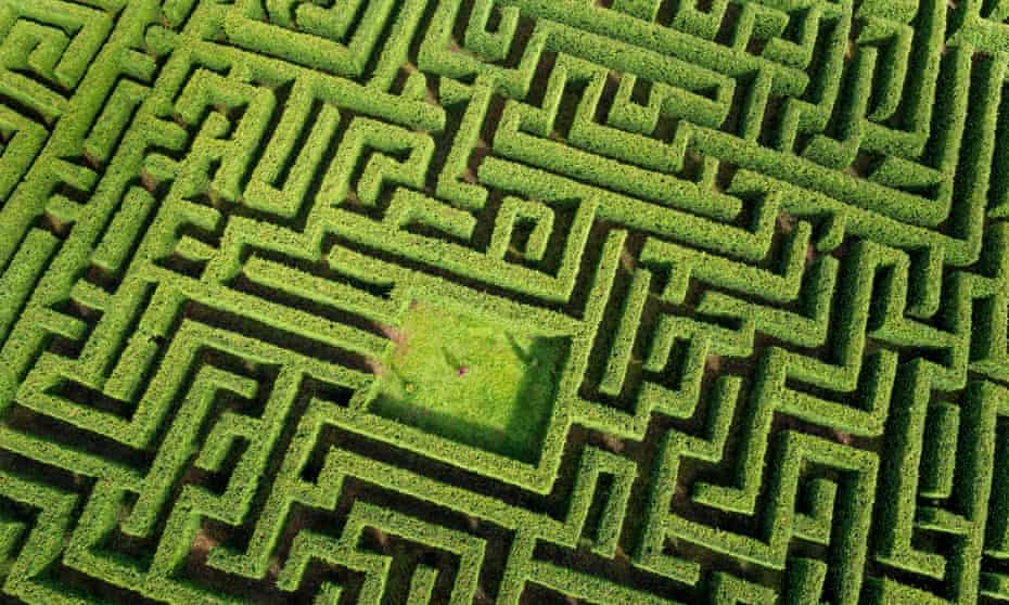 The maze of Laberinto de Villapresente, northern Cantabria, Spain seen from the air.
