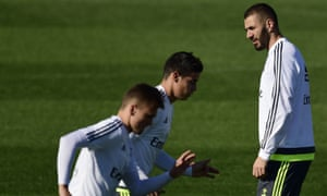 Karim Benzema, right, is back in training with Real Madrid.