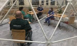 An 'igloo' set up at Whittington hospital