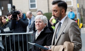 Clara Ponsatí arrives to hand herself in at a police station in Edinburgh.