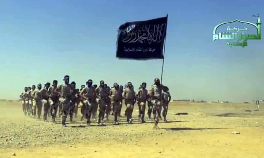 An image grab from a propaganda video showing Ahrar al-Sham members training