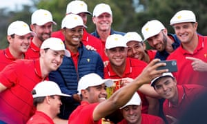 Team USA pose for a selfie taken by Tony Finau after sealing the 2019 Presidents Cup.