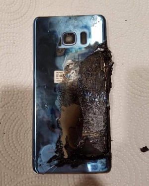 Joni Barwick's Samsung Galaxy Note 7 after it caught fire on her nightstand.