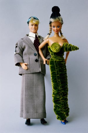 Barbie and Ken dolls in outfits designed by Jean-Paul Gaultier, 1985.
