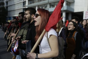 Athens, Greece Protesters chants slogans