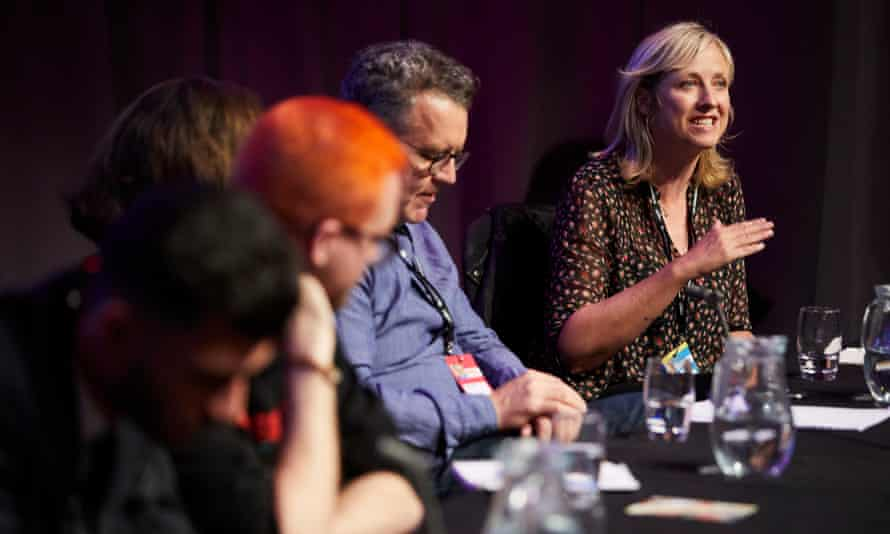 Carole speaks at 'Cambridge Analytica; data, scandal, democracy, a fringe deabate, at the Labour party annual conference in Liverpool earlier this year. Photograph: Christopher Thomond for The Guardian.