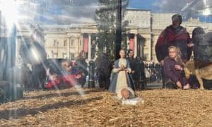 Christmas crib in Trafalgar Square, London