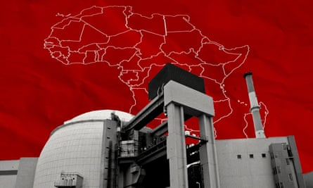 A nuclear reactor superimposed over a map of Africa