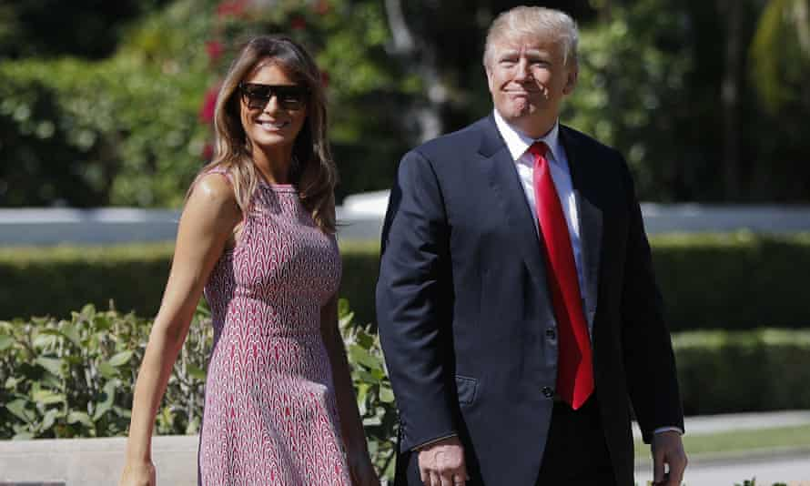 Donald Trump and first lady Melania Trump arrive for Easter services at Episcopal church of Bethesda-by-the-Sea in Palm Beach, Florida.