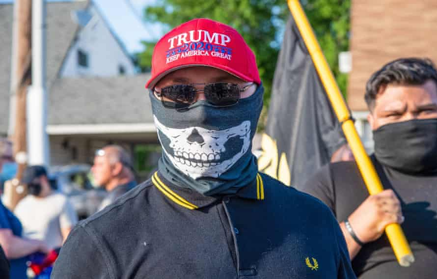 A group of Proud Boys rally in Philadelphia to greet vice-president Mike Pence in July 2020.