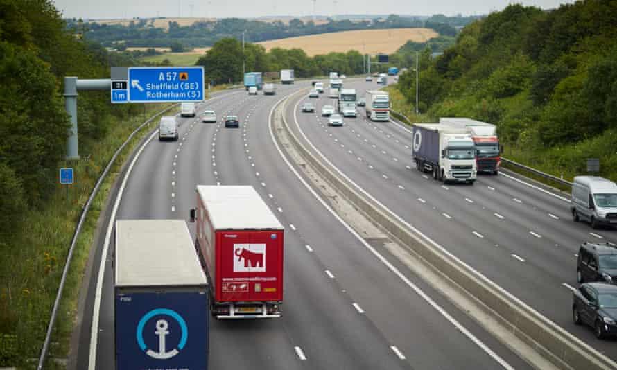 Lorries on a UK motorway