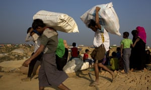 Rohingya refugee Muslims at Balukhali refugee camp, 50km from, Cox's Bazar, Bangladesh on Wednesday.