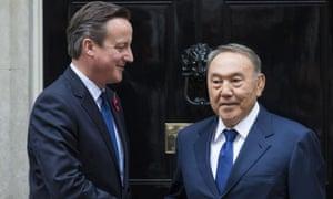 Nursultan Nazarbayev with David Cameron at Downing Street on 3 November 2015.