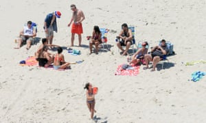 Chris Christie with family and friends on the beach