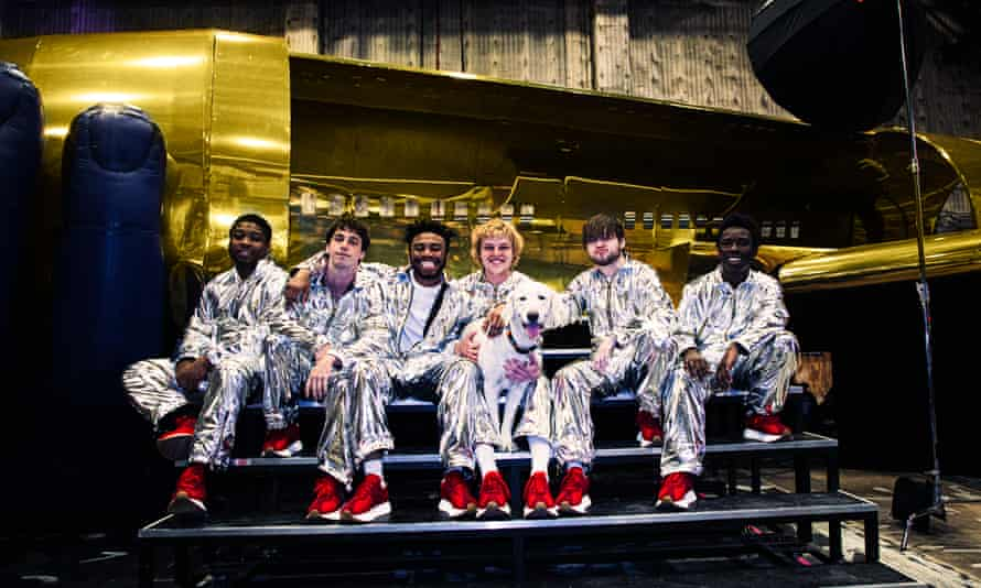 (l-r) Dom McLennon, Matt Champion, Kevin Abstract, Joba, Bearface and Merlyn Wood in 2019.