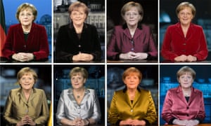 A composite image of some of Angela Merkel's New Year speeches