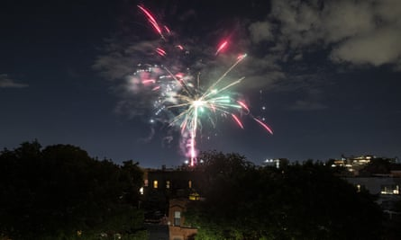 Fireworks explode during Juneteenth celebrations above the Bedford-Stuyvesant neighborhood in the Brooklyn borough of New York