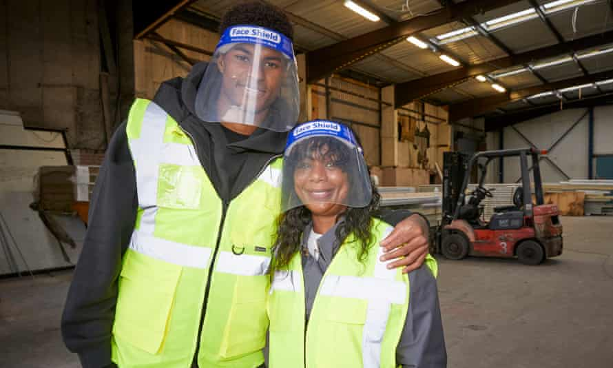 Marcus Rashford and his mother, Melanie, visiting FareShare Greater Manchester at New Smithfield Market, which has named a new warehouse in her honour.