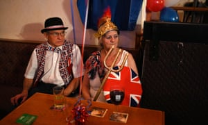 A Brexit supporter during a Brexit Celebration party at Woolston Social Club in Warrington