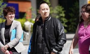 Huyen Tran's husband, Paul Lee, outside the court