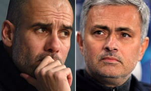 Pep Guardiola, left, and José Mourinho will both be managing in Manchester next season.