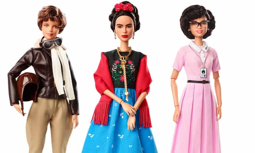 Image released by Barbie shows dolls in the image of pilot Amelia Earhart, left, Mexican artist Frida Kahlo and mathematician Katherine Johnson.