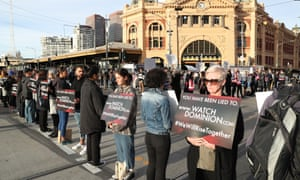 Animal rights protesters block a major Melbourne intersection during Monday's national day of action