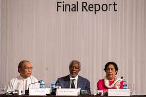 """Former UN secretary general Kofi Annan tells Myanmar that it must scrap restrictions on movement and citizenship for Rohingya people if it wants to avoid fuelling extremism. Annan was appointed last year by leader Aung San Suu Kyi, to lead a commission tasked with finding solutions to heal divides between Rohingya Muslims and Buddhists in Rakhine state. Unless current challenges are addressed promptly, further radicalisation within both communities is a real risk,"""" the commission's final report warned."""