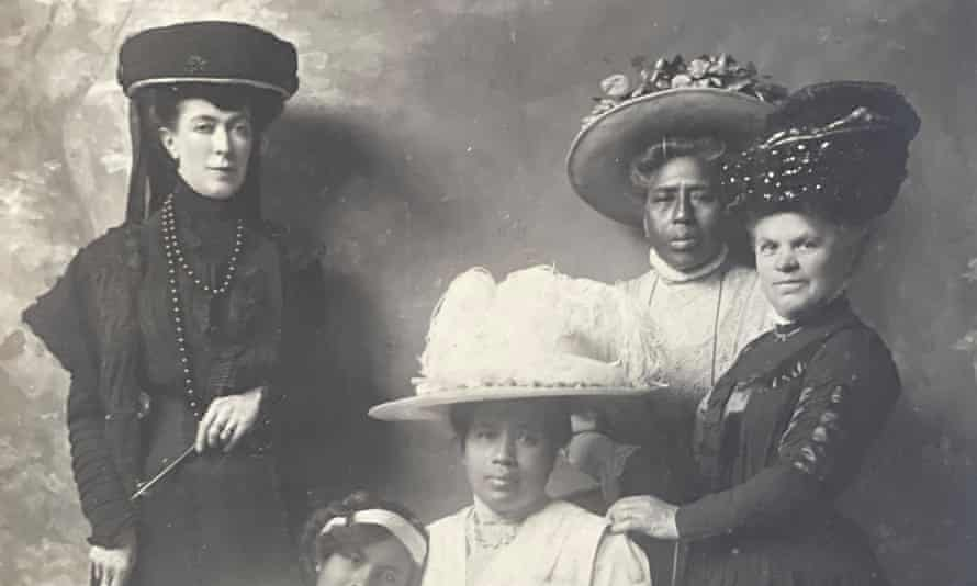 Ranavalona (seated) with her family and Clara Herbert on the left