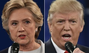 Hillary Clinton and Donald Trump during the second presidential debate.