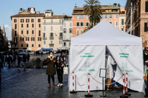 A tent to carry out Covid-19 tests set up by a pharmacy in Piazza di Spagna, downtown Rome.