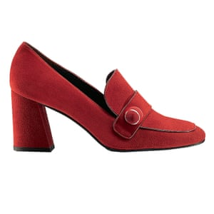 red heeled loafers Russell and Bromley