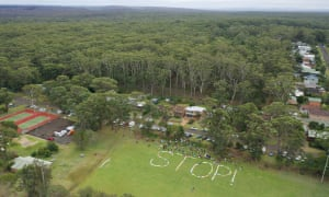 Manyana residents protest against plans to clear a patch of land saved from the summer bushfires