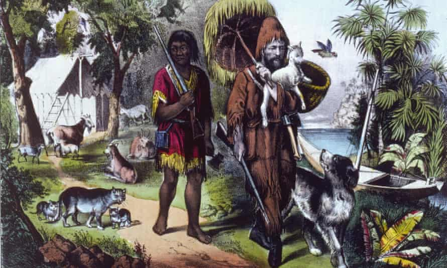 Robinson Crusoe and Man Friday in a 1754 edition of the novel.