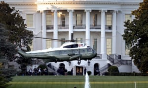 The presidential helicopter carries Donald Trump to Walter Reed national military medical center.
