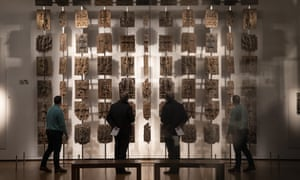 Some of the Benin bronzes, displayed in the British Museum in London.
