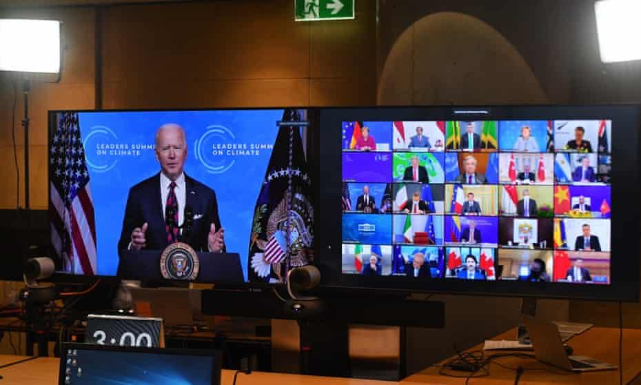 Joe Biden makes opening remarks of the Leaders Summit on Climate last week.