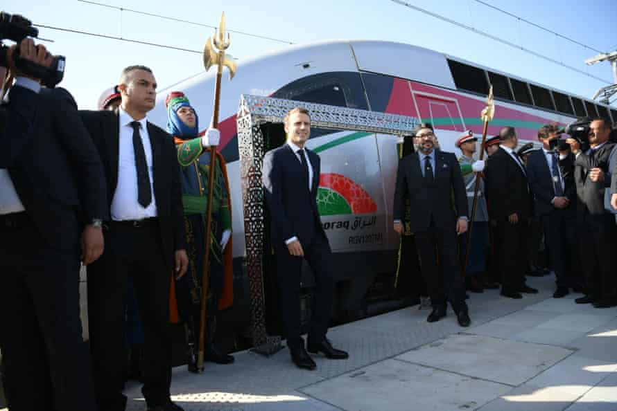 French President Emmanuel Macron and Moroccan King Mohammed VI inaugurate a high-speed line at Tangier station on 15 November