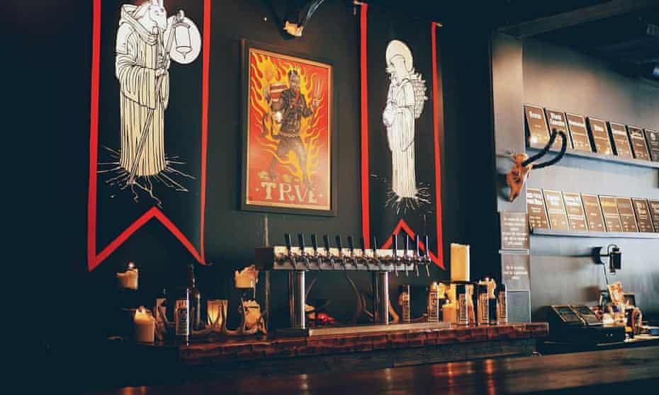 Bar and counter area at Trve Brewing Company, Denver Colorado, US.