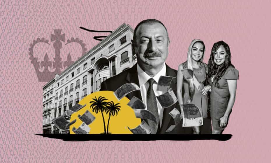 Azerbaijan's president, Ilham Aliyev, and his daughters Leyla and Arzu